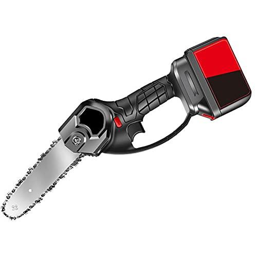 LOVEHOUGE Mini Motosierra Eléctrica, Mini Motosierra Eléctrica Inalámbrica Recargable De 6 Pulgadas, Ideal para Cortar Madera De Ramas De Árboles En El Patio,2*Battery