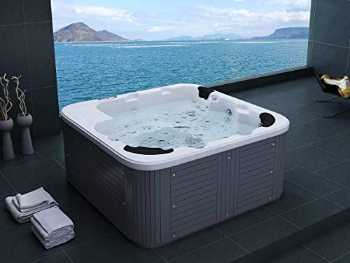 Outdoor Whirlpool Hot Tub Venedig Farbe weiß mit 44 Massage Düsen + Heizung + Ozon Desinfektion + LED Beleuchtung für 5 – 6 Personen für für Garten / Terasse / Außen - 2