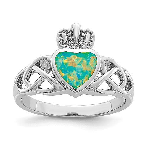 925 Sterling Silver Lab Created Opal Irish Claddagh Celtic Knot Crown Band Ring Size 8.00 Gemstone Fine Jewelry For Women Gifts For Her