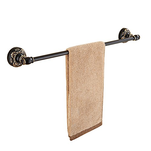 TLMYDD Retro Negro Bastidores De Toallas/Toalla De Cocina Rack/Vástago Simple/Instalación De Perforación/Engrosamiento De La Pared Accesorios De Hardware Espacio De Baño De Aluminio Americanos