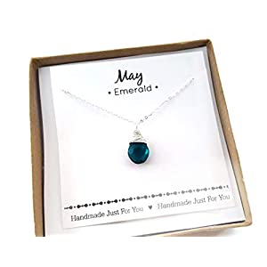 May Birthstone Emerald Quartz Necklace - Sterling Silver Briolette Teardrop Jewelry - Gift for Her