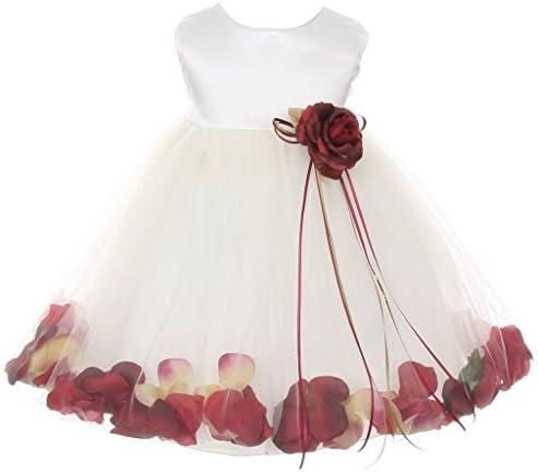 iGirlDress Baby Girls Satin Bodice Flower Pageant Petal Dress Infant 6mos Ivory Burgundy product image