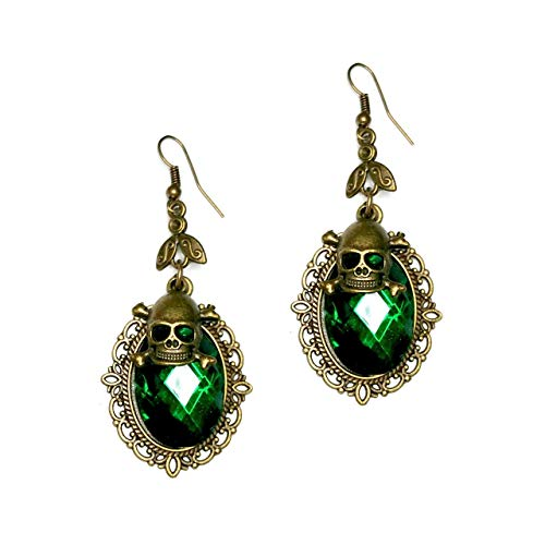 Vibrant Emerald Green Crystal Drop Earrings with Antiqued Gold Bezel and Skull Charm