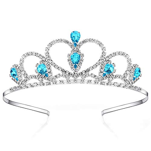 Lovelyshop Blue Gems Rhinestone Tiara for Little Kid Big Kid Prom Birthday Prinecess Crown
