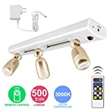 LUXSWAY LED Track Light Plug in Spotlight, Accent Light with Remote and 3 Adjustable Light Heads, Dimmable Under Cabinet Track Lighting for Lighting Indoor Artwork, Picture, Closet ,Cabinet