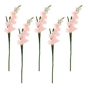 kowaku 5X Artificial Simulation Gladiolus Flower Stem Wedding Home Decor