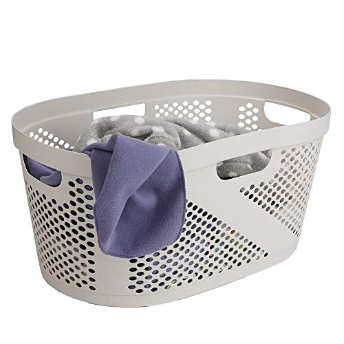 Mind Reader HHAMP40-IVO, Laundry, Storage, Bathroom, Bedroom, Home, Ivory 40 Liter Clothes Basket