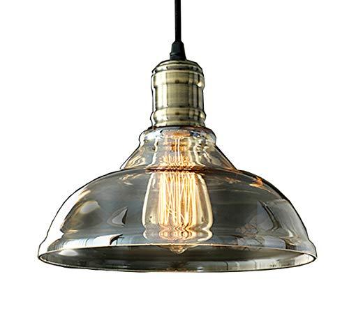 Style home Retro Hängeleuchte Glasschirm & Metall Deckenlampe E27 Vintage Industrie Stil RL-C005 40W