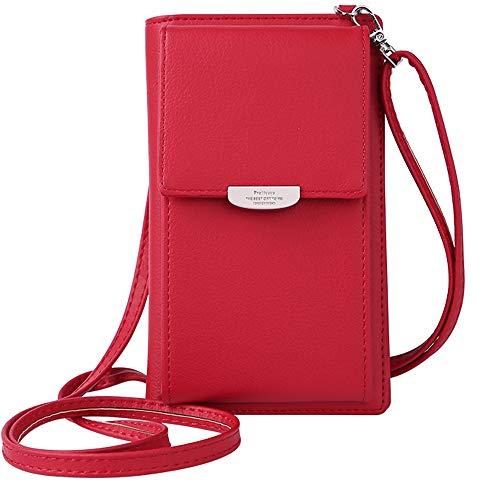 WANYIG Sac À Bandoulière Femme en Cuir Portefeuille Porte-Monnaie Sac Téléphone Pochette Portable Mini Pochette Porte-Cartes de Crédit(Rouge)