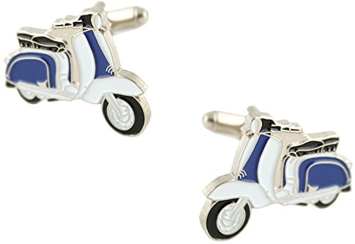 MasGemelos - Gemelos Moto Vespa Azul Blanca Cufflinks