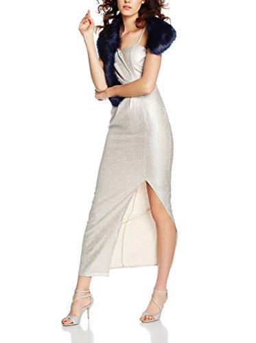 Elise Ryan Damen Sweetheart Maxi with Side Split Kleid, Silber, DE 34 (UK 6)