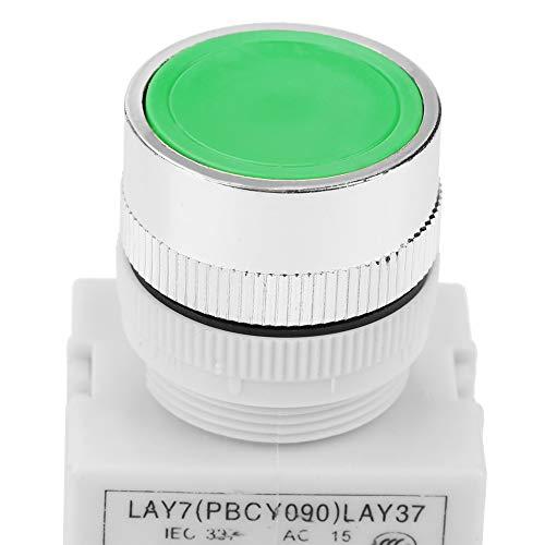 Interruptor momentáneo de 22 mm de montaje 220 V 5A Interruptor de botón verde de cabeza plana duradera Interruptor de botón de reinicio automático LAY37-11BN para circuitos eléctricos de