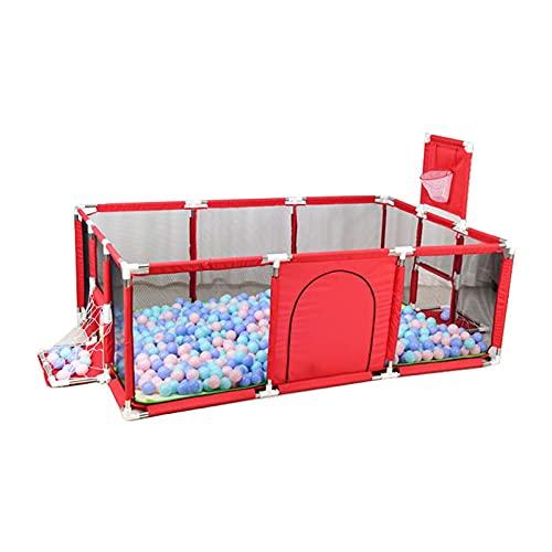 Baby lekhage, Baby Lekplatser Dragringdesign, hjälp att stå, med basketring, säker att inte falla, lämplig för 0-3 år gammal,Red
