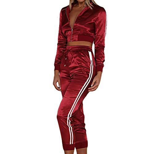 Frauen Slim Fit Sport Anzüge Langarm Reißverschluss Jacken Hohe Taille Cropped Hosen Sportswear Sets Rundkragen Short Styles Bluse Elastische Taille Hosen