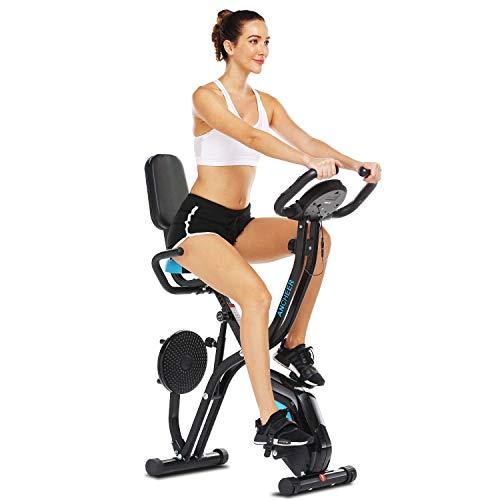 ANCHEER Cyclette Pieghevole con Supporto per Tablet e Sedile Confortevole, Cyclette da Interno con App e 10 Livelli di Resistenza Magnetica Regolabile, capacità di Peso: 265 LB (Nero)