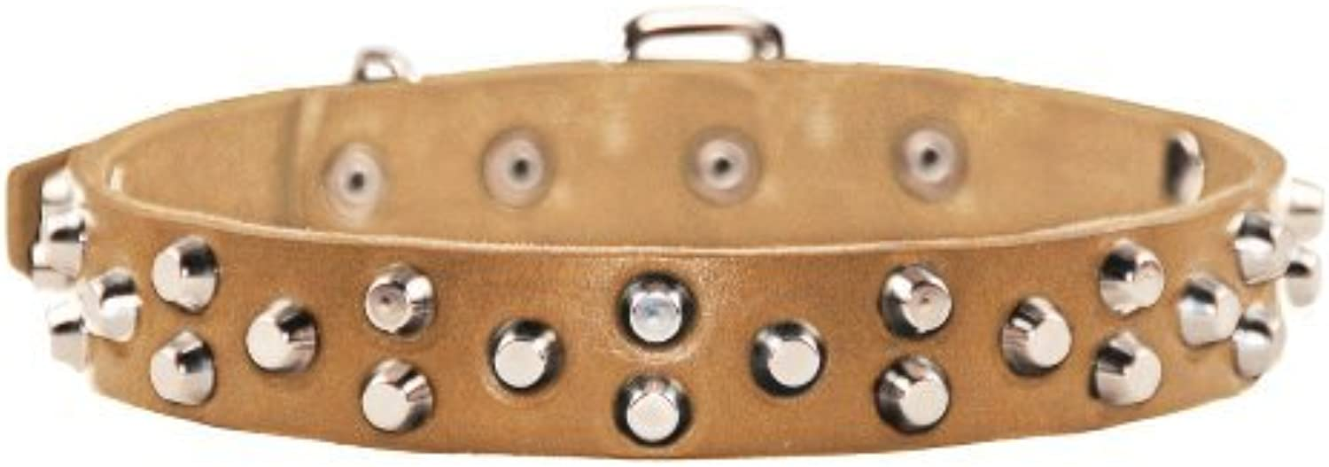 Dean and Tyler  EGYPTIAN GEM , Dog Collar with Conical Pyramids and Nickel Hardware  Tan  Size 51cm by 3cm  Fits Neck 46cm to 56cm