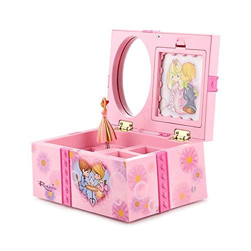 Joyero Caja Musical De Música De Princesa Bailarina De 1 Pieza, Caja De Almacenamiento De Joyería De Plástico, Mecanismo De Caja De Regalo Delicado Para Niñas Y Niños Con Espejo 2020