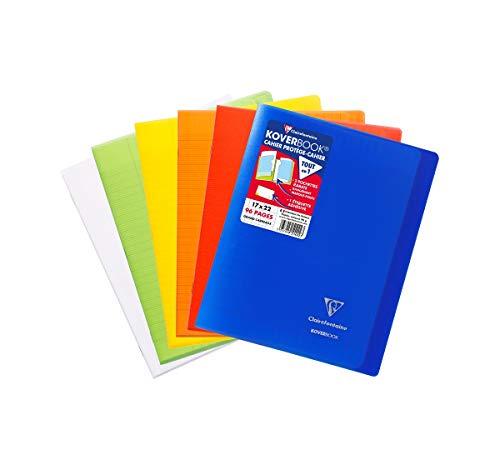 Clairefontaine 951460AMZC Lot de 6 Cahiers Agrafés Koverbook - 17x22 cm - 96 Pages Grands Carreaux - Papier Blanc 90 g - Couverture Polypro (Bleu Marine, Vert, Rouge, Jaune, Orange, Incolore)