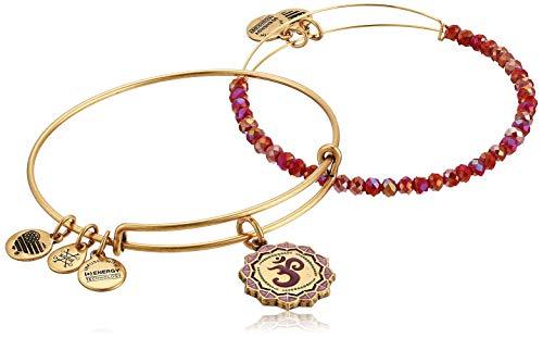 Alex and Ani Women's Color Infusion Om Set of 2 Bracelet, Rafaelian Gold, Expandable