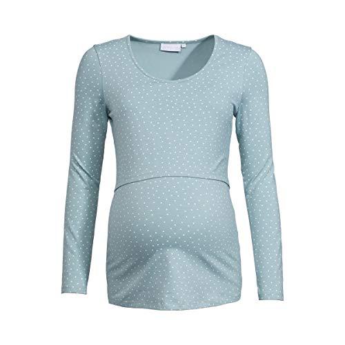 2HEARTS T-Shirt de Grossesse et d'allaitement GOTS T-Shirt de Grossesse T-Shirt de Grossesse, Pois Bleu Ciel