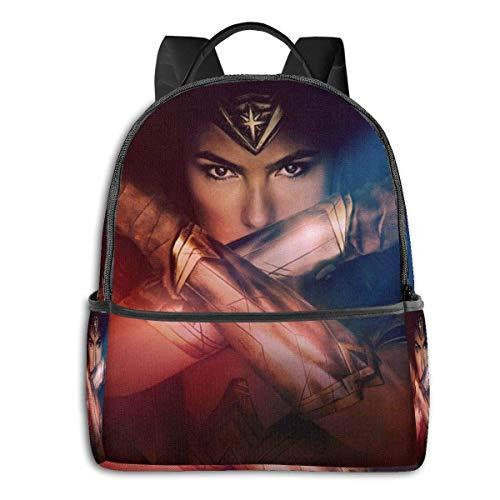 Hdadwy Wonder Woman Mochila Unisexs Student Bag Mochilas clásicas Ligeras con Cremallera 14.5 X 12x 5 In