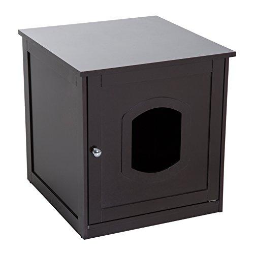 Pawhut Katzenhaus für Katzenbett oder Katzentoilette, Katzenschrank, Katzenklo Indoor, MDF, Braun, 48 x 51 x 51 cm