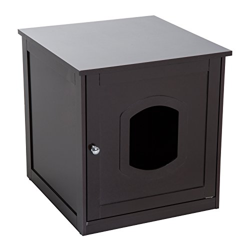 Pawhut 2 in 1 Wooden Litter Box Toilet Cat Home Pet House 51 x 51 x 48.5 cm (Dark Brown)