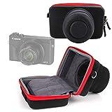DURAGADGET Funda/Estuche Compatible con Cámara Canon PowerShot G5 X Mark II, Canon PowerShot G7 X Mark III | Roja Y Negra - Cierre De Cremallera Y Banda para El Cinturón