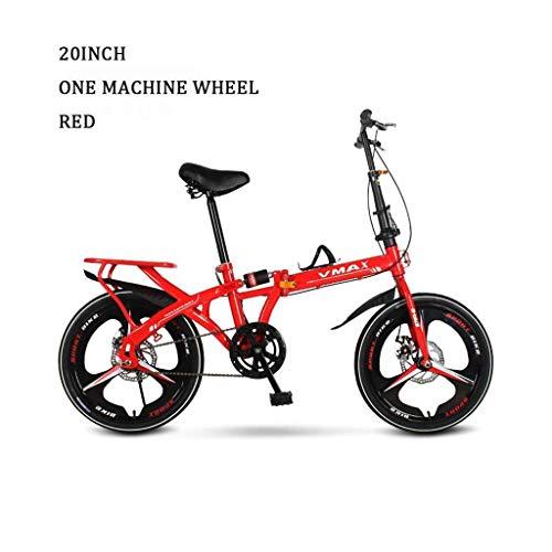 LIYONG Folding Mountainbike for Erwachsene Tragbare Fahrrad Dämpfende Fahrrad männlich Studentenstadt Fahrrad-Fahrrad 20 Zoll Fahrrad Mountainbike (Farbe: rot Maße: Variable Geschwindigkeit) HLSJ