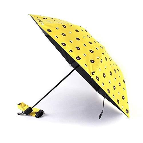 NJSDDB paraplu Mode Cartoon Beer Anti UV Vrouwen Paraplu Zwarte Coating Zon Vrouwelijke Strand Paraplu's Vijf vouwen Paraplu Draagbaar, Als foto 2
