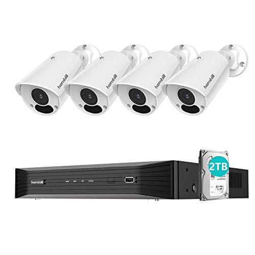 4K PoE Security Camera System, Hornbill 8 Channel 8MP Security Camera System with 2TB Hard Drive,4Pcs IP67 Waterproof Outdoor Security Camera with 100ft Night Vision,24/7 Wired Security Camera System