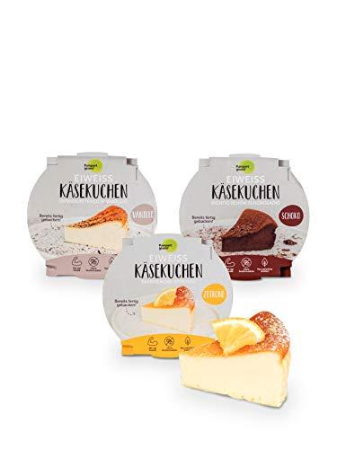 Pumperlgsund Kuchen Käsekuchen Fertig gebacken Low Carb 450 g (6 x Mix - Schoko, Vanille, Zitrone)