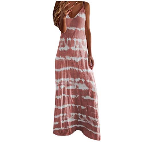 Mingfa Damen-Kleid, Übergröße, lässig, lockeres Kleid, Batik, gestreift, V-Ausschnitt, ärmellos, lang, Baumwolle, Retro, Boho, Maxikleid, Strandkleid Gr. XXXXXL, rose