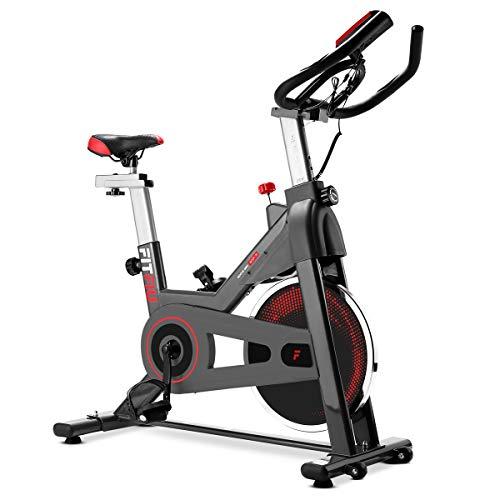 FITFIU Fitness BESP-70 Bicicleta indoor con disco de inercia de 13kg, pantalla LCD y pulsómetro, Bici entrenamineto fitness con sillín y manillar ajustables