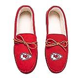 FOCO NFL Kansas City Chiefs Mens Team Color Big Logo Moccasin SlippersTeam Color Big Logo Moccasin Slippers, Team Color, XL / 13-14