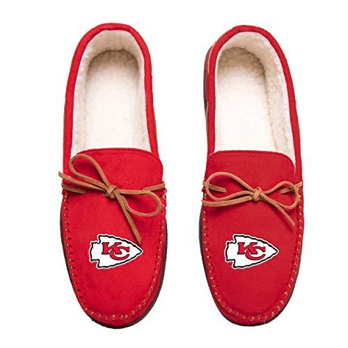 NFL Kansas City Chiefs Mens Team Color Big Logo Moccasin SlippersTeam Color Big Logo Moccasin Slippers, Team Color, XL / 13-14
