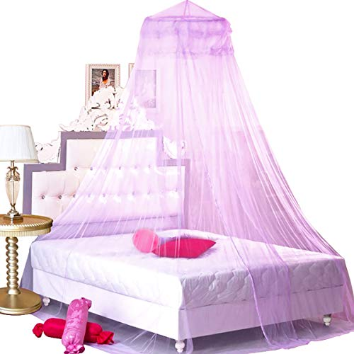 BCBYou Princess Bed Canopy Netting Mosquito Net Round Lace Dome for Twin Full and Queen Size Beds Crib with Jumbo Swag Hook (Purple)