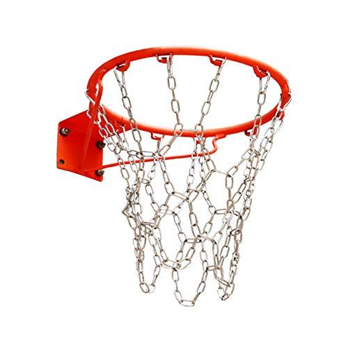 LAIABOR Red Baloncesto Red Canasta en Acero Inoxidable para Cancha de Baloncesto Cubierta, Cancha de Baloncesto del Campus,Natural,12 Buckles