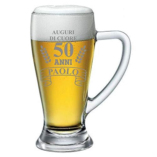 Boccale da Birra Personalizzato con Nome Incisione Compleanno 50 Anni Auguri di Cuore (Nome del festeggiato) - Idea Regalo Compleanno - Regali Originali - Bicchiere in Vetro Chiaro, ca 38cl