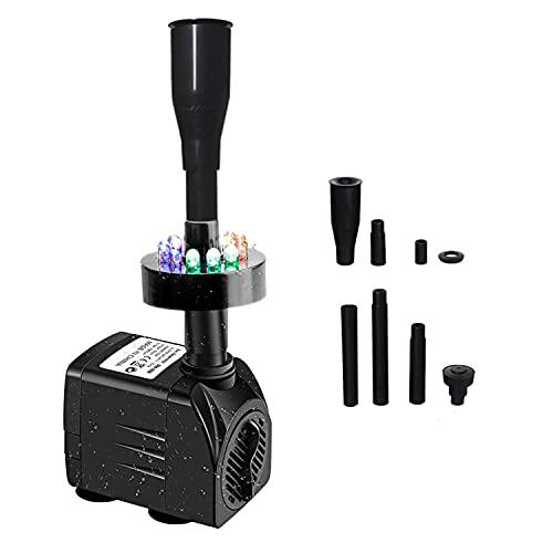 Homvik Bomba de Agua con LED Colores 1000L/H 15W Bomba Sumergible Luces para Acuario Estanque Pecera Fuente Circulación de Agua Dulce y Marino con Boquillas de Fuente de Agua 1.5m de Altura
