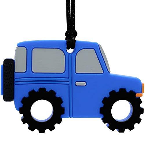 Collar para masticar sensorial para niñas con nombre personalizado, colgante de silicona para automóvil, para autismo, TDAH, SPD, mordedura de dentición con necesidades especiales para niños (azul)