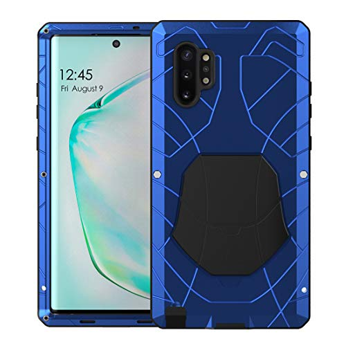 Foluu Galaxy Note 10 Plus Case, Galaxy Note 10 Plus 5G Case, Armor Aluminum Metal Shockproof Bumper Frame Case Soft Rubber Silicone Military Heavy Duty Hard Case for Galaxy Note 10 Plus (Blue)