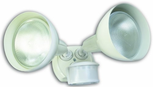 Designers Edge L6004WH L-6004Wh Twin Head Motion Activated Flood Light with Bulb Shield, 120 V, 240 W, Par, Incandescent, Watt, White