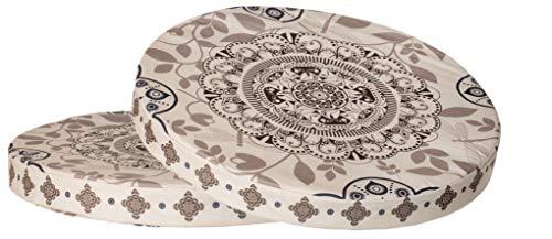 Sitzkissen 2er-Set im Ornament Design Rund Stuhlkissen Sitzpolster Bodenkissen Größe: ca. Ø 40 cm x 4 cm - Beige