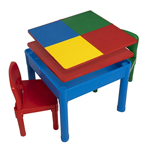 Play Platoon Kids Activity Table Set - 5 in 1 Water Table, Building Block Table, Craft Table and Sensory Table with Storage - Includes 2 Chairs and 25 Ex-Large Blocks – Primary Colors