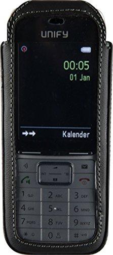 JT Berlin Turnline Schutzhülle für das Gigaset SL450 / SL750 / Unify Open SL5 - schwarz [Echtleder I 8-Stufen Gürtel-Drehclip I Handmade in Europe I Smarte Folie] - 12016