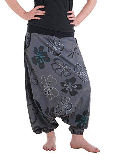 Vishes – Alternative Bekleidung – Weite Haremshose aus Baumwolle mit tiefem Schritt und Taschen – großflächig mit Blumen Bedruckt und Bestickt grau 38