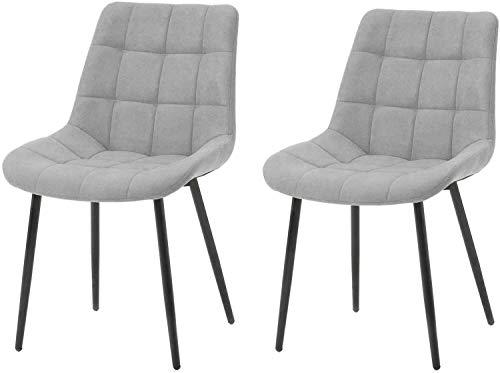 ModernLuxe Esszimmerstuhl 2er Set Wohnzimmerstuhl SAMT Stoff/Leinen Polsterstuhl Loungesessel Weicher Sitz und Rücken, mit Holzernen Metallbeinen, Küchenstühle (Grau, Leinen)