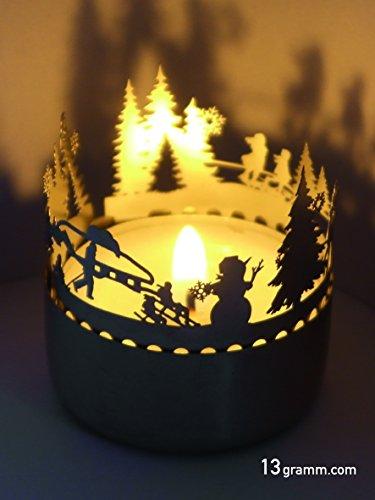 13gramm Winter Schattenspiel, liebevoll gestaltet Super Minigeschenk und Mitbringsel, für Teelicht, unbegrenzt wiederverndbar,günstiger Postversand, Adventskalenderfüllung,Wichtelgeschenk,Grußkarte