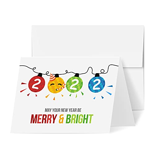 """2022 Merry Christmas Happy New Year Holiday Greeting Cards – Blank Fold Over Cards & Envelopes, Funny Emoji Cards – For New Year's Gift & Presents 